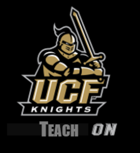 "UCF Knight with the words ""teach on"" beneath it"